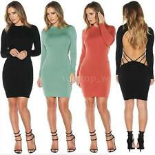 Women Bodycon Solid Long Sleeve Dress Cut out Cocktail Evening Mini Dress Q7UP