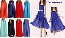LADIES WOMENS CHIFFON GYPSY, LONG JERSEY MAXI DRESS SKIRT ELASTICATED *lng