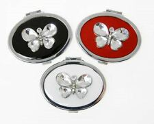 Leonardo Butterfly Compact Mirror Red Silver Jewelled Oval
