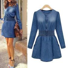 Elegant Women Ladies Casual Slim Denim Skirt Jeans Dress Tunic Mini Party Dress