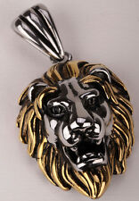 Mens stainless steel lion necklace pendant W/ chain biker animal jewelry GN06