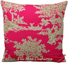 Harlequin Etienne Toile Designer Fabric Cerise Pink Cushion Pillow Cover