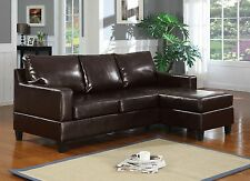 Reversible Sectionals Bonded Leather 2pc Sectional Sofa Set Espresso Chaise Sofa