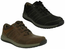 MENS CLARKS LACE UP BLACK TAN LEATHER G FIT SMART CASUAL SHOES RYLEY STREET