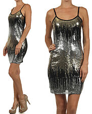 NEW Sexy Sparkling Sequin Embellished Spaghetti Strap Tank Mini Dress Clubwear
