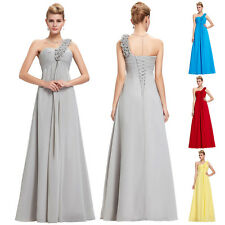 PLUS SIZE Long Chiffon Evening Formal Party Ball Gown Prom Grey Bridesmaid Dress