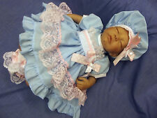 DREAM BABY GIRLS BLUE WHITE PINK LACE DRESS & BERET NEWBORN 0-3 3- 6 AVAILABLE