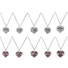 Fashion Family Crystal Rhinestone Love Heart Pendant Necklace Chain Jewelry Gift
