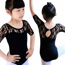 Kid Girls Ballet Dance Costume Gymnastics Leotard Skirt Half Sleeve Strap Dress