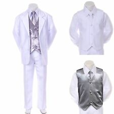 New Boy Kid Child Formal Wedding Party White Suit Tuxedo + Silver Vest Tie 5-7