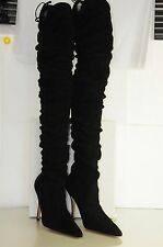 $2395 New MANOLO BLAHNIK Gipsy OTK Over the Knee Black Suede BB Boots SHOES 40.5
