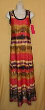 Sunny Leigh women's orange black maxi sundress dress summer tie dye top XS $79