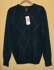 Dockers mens navy blue argyle pattern knit crew neck pullover sweater top S $50