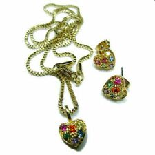 Gay Pride Earring and Pendant Set Gold Plate or Rhodium with Rainbow Stones