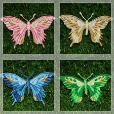 Colorful Butterfly [Set 2] Patch Iron Embroidered Applique Sew Badge Size 8*5 cm
