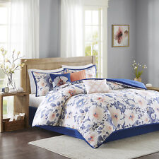 New Cotton Cover  Blue Coral Floral Comforter 7 pcs Set Cal King Queen Bedding