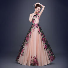 Women Formal Dress Chiffon One Shoulder Printing Flower Long Evening Gown Bride