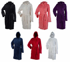 Ladies Soft Coral Fleece Hooded Bathrobe Plain Wrap Around Dressing Gown Medium