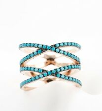 Women's Rose Gold Over 925 Sterling Silver Criss Cross Ring Turquoise CZ Stones