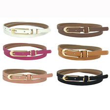 New Lovely Women Belt Girl Buckle Candy Color Thin Skinny PU Leather Belt Gifts