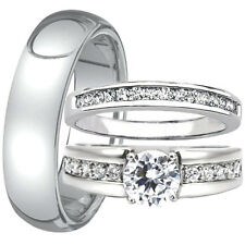 3 Pc His and Hers Engagement Wedding Ring Band Set Men's Tungsten 6mm Women's CZ