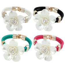 Fashion Women White Flower Bracelet Leather Chain Crystal Bangle Jewelry 4 Color