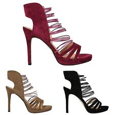 NEW WOMENS LADIES ELASTICATED STRAPPY PEEPTOE HIGH STILETTO HEEL SANDALS SHOES S