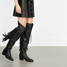 BNWT ZARA FLAT LEATHER BOOTS WITH FRINGE US 6, UK 3, EUR 36 100% cow leather