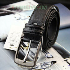 Stylish Mens PU Leather Premium Textured Metal Buckle Casual Waist Strap Belt