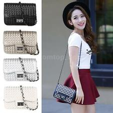Fashion Woven Design Shoulder Crossbody Bag Leather Handbag Clutch Purse Y0Z8