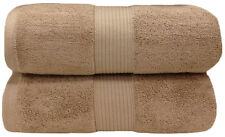 Taupe 100% Cotton Solid 2PC Plush Towels, Ultra Soft Bath Sheets - Bath Towels