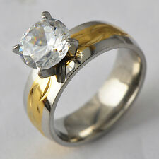Fashion Size 6-9 Clear Ball Crystal White/YellowGold Filled Wedding Ring gift