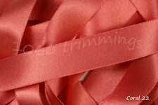 Coral 22 Satin Ribbon Double Sided Berisfords Choice Widths & Lengths  3501