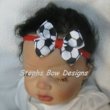 RED SOCCER BALL SMALL DAINTY HAIR BOW Red LACE HEADBAND INFANT  4 SOCCER FAN