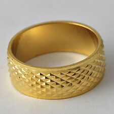 Fashion Jewelry Scrub Yellow Gold Filled Womens Mens Couple Rings Size7-10 NEW