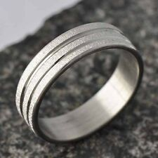 Authentic womens mens Scrub stainless steel Band Promise Love Band Ring Size7-11