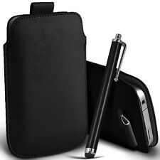 PU Leather Pull Tab Pouch Case & Large Pen for Vodafone Smart Ultra 6