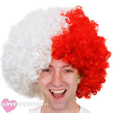 WHITE AND RED AFRO WIG FOOTBALL SUPPORTERS NOVELTY FANCY DRESS POLAND EURO