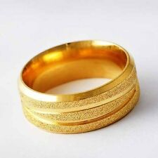 Fashion Yellow Gold Filled Scrub band Promise Love Band Ring Size 7-11 lovely