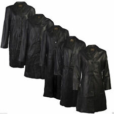 Mens Leather Trench Jacket Black Real 100% Genuine Everyday Style Fashion Warm