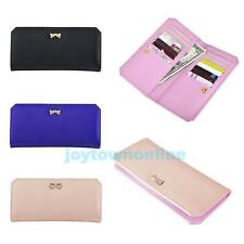 New Women Lady PU Leather Bowknot Button Handbag Bifold Long Clutch Wallet Purse