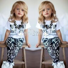 2PCS Toddler Kids Baby Girls Outfit Clothes T-shirt Tops+Long Pants Trousers