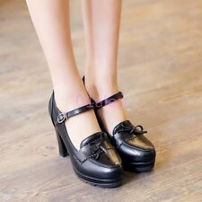 Ladies Thick High Heels Vintage Retro Bowtie Round Toe Leather Mary Janes Shoes