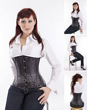 Tight Lacing Heavy Double Steel Bone Genuine Leather  Underbust Corset Bustier