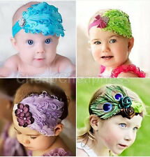 Cute Baby Kids Girl Infant Toddler Feather Headband Lace Flower Hair Band Colors