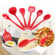 6pcs Silicone Cooking Utensil Set Spatula Spoon Slotted Turner Kitchen Tool C5W1