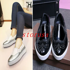 Fashion Women Flat Heel Creeper Shoes Borgue Carved Casual Loafers Walk Shoes
