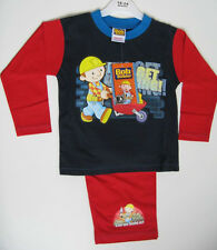 Boys Bob The Builder Lets Get Moving Long Pyjamas Age 1-4 Years Red & Navy Blue