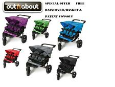 Out N About Nipper 360 Double Buggy V4 Inc Raincover+ Basket + Parent Console