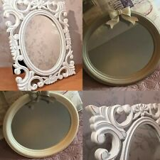 Shabby Chic Wall Mounted Oval Painted Mirror with Bow Detail Grey or White 7422